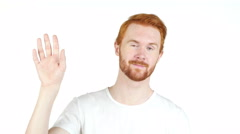 Happiness and people concept - smiling redhair man waving hand Stock Footage