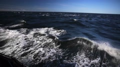 Dark waves of stormy White Sea in Russia, white splashes. Stock Footage