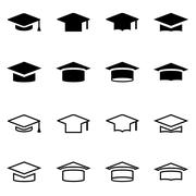Vector black academic cap icon set - stock illustration