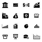 Vector black economic  icon set Stock Illustration