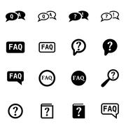 Vector black faq icon set Stock Illustration