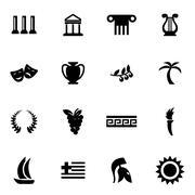 Vector black greece icon set Piirros