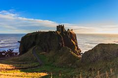 Dunnottar Castle with blue sky in - Stonehaven, Aberdeen, Scotland UK Stock Photos