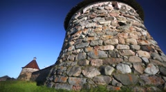 Massive tower and walls of Russian Orthodox Solovetsky Monastery. Stock Footage
