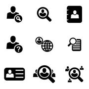 Vector black people search icon set Piirros