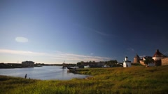 Panorama of sea bay, walls of Russian Orthodox Solovetsky Monastery. Stock Footage