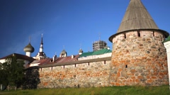Massive walls of Russian Orthodox Solovetsky Monastery. Stock Footage
