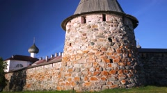 One of the few massive towers of Russian Orthodox Solovetsky Monastery. Stock Footage