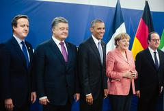 David Cameron, Petro Poroshenko, Barack Obama, Angela Merkel, Francois Hollan Stock Photos