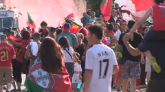 Toronto soccer fans celebrate Portugal world euro cup Stock Footage