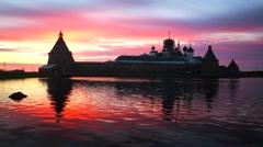Russian Orthodox Solovetsky Monastery on amazing sunset. Stock Footage