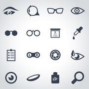Vector black optometry icon set - stock illustration