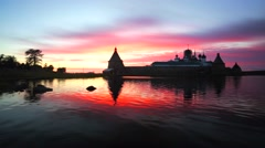Russian Orthodox Solovetsky Monastery on amazing sunset. Stock Footage