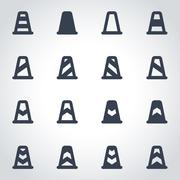 Vector black traffic cone icon set - stock illustration