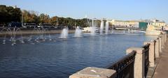 many fountain on river - stock photo