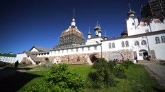 Russian Orthodox Solovetsky Monastery under reconstruction. Stock Footage