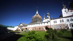 Famous Russian Orthodox Solovetsky Monastery under reconstruction. Stock Footage