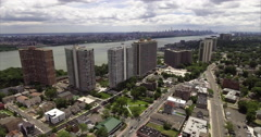 Aerial of Fort Lee & Englewood Cliffs Highlines Stock Footage