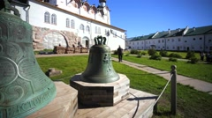 Two big bells in the yard of Russian Orthodox Solovetsky Monastery. Stock Footage