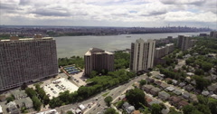 Aerial of Fort Lee & Englewood Cliffs Highline Stock Footage