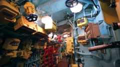 Interior of former submarine B-440, closeup of equipment. Stock Footage