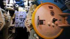 Closeup of equipment on B-440 submarine. Stock Footage