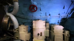 Closeup of old diving-dress helmet inside old russian submarine B-440. Stock Footage