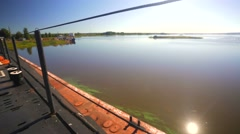 View of the Volga Baltic Waterway, B-440 submarine deck and con. Stock Footage