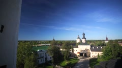 View of yard and maintenance buildings of Kirillo-Belozersky Monastery. Stock Footage