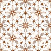 Seamless of six angle stars and big flowers Stock Illustration