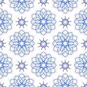 Seamless of blue big flowers and nine angle stars Stock Illustration