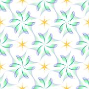 Seamless of wings like flowers and yellow six angle stars Stock Illustration