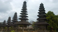 Long Row of Pagodas at Taman Ayun Temple in Bali, Indonesia Stock Footage