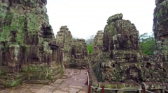 Moss and Lichen Encrusted Exterior of Bayon Temple in Cambodia Stock Footage