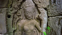 Ancient, Crumbling Relief Sculpture at Bayon Temple, Cambodia - stock footage