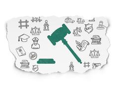 Law concept: Gavel on Torn Paper background Stock Illustration