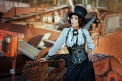 Woman in steampunk style. Stock Photos