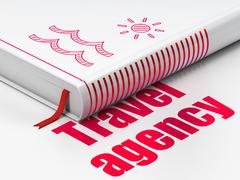 Travel concept: book Beach, Travel Agency on white background - stock illustration