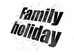 Vacation concept: Family Holiday on Digital background Piirros