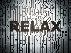 Travel concept: circuit board with Relax - stock illustration