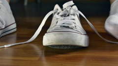 Young Woman Putting On Her Sport Shoes, Tying Her Shoelaces, Hands Detail Stock Footage