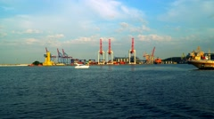 We see cranes seaport passing the port Stock Footage