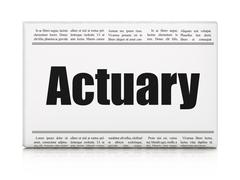 Insurance concept: newspaper headline Actuary - stock illustration