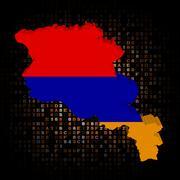 Armenia map flag on hex code illustration - stock illustration