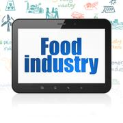Industry concept: Tablet Computer with Food Industry on display - stock illustration