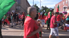 Toronto soccer fans celebrate Portugal world euro cup - stock footage