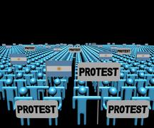Crowd of people with protest signs and Argentina flags illustration - stock illustration