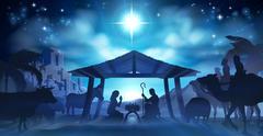 Nativity Christmas Scene - stock illustration