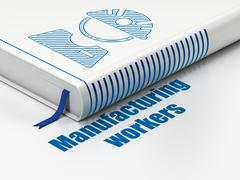 Manufacuring concept: book Factory Worker, Manufacturing Workers on white Stock Illustration