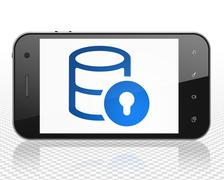 Database concept: Smartphone with Database With Lock on display - stock illustration
